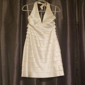 White/cream BCBG tiered halter dress